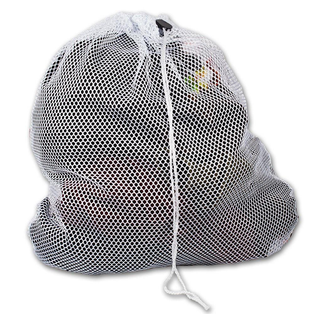 White Mesh Drawstring Laundry Bag